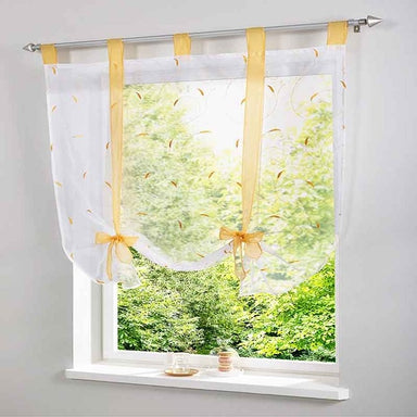 1pcs Luxury Ribbon Pastoral Roman Curtain Embroidered Floral Window Curtains Short Sheer Tulle Voile for Living Room Kitchen - Trivoshop