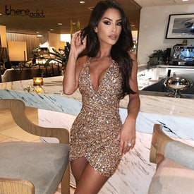 Thereadict Spaghetti Strap Glitter Sequin Dress Sexy Deep V Neck Backless Party Dress Celebrity Mini Bodycon Dress Women Vestido - Trivoshop