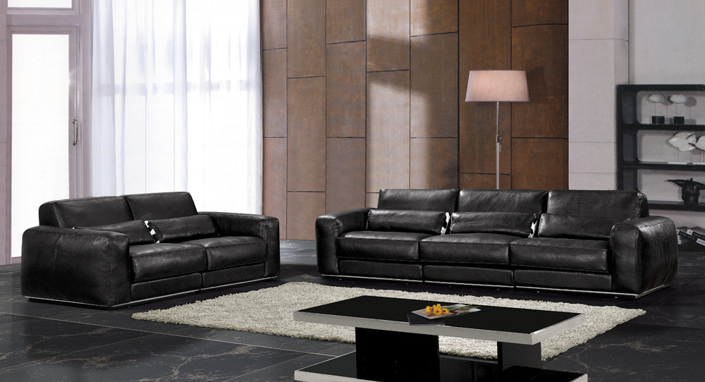 Hot sale modern chesterfield genuine leather living room sofa set furniture black full leather feather inside. - Trivoshop