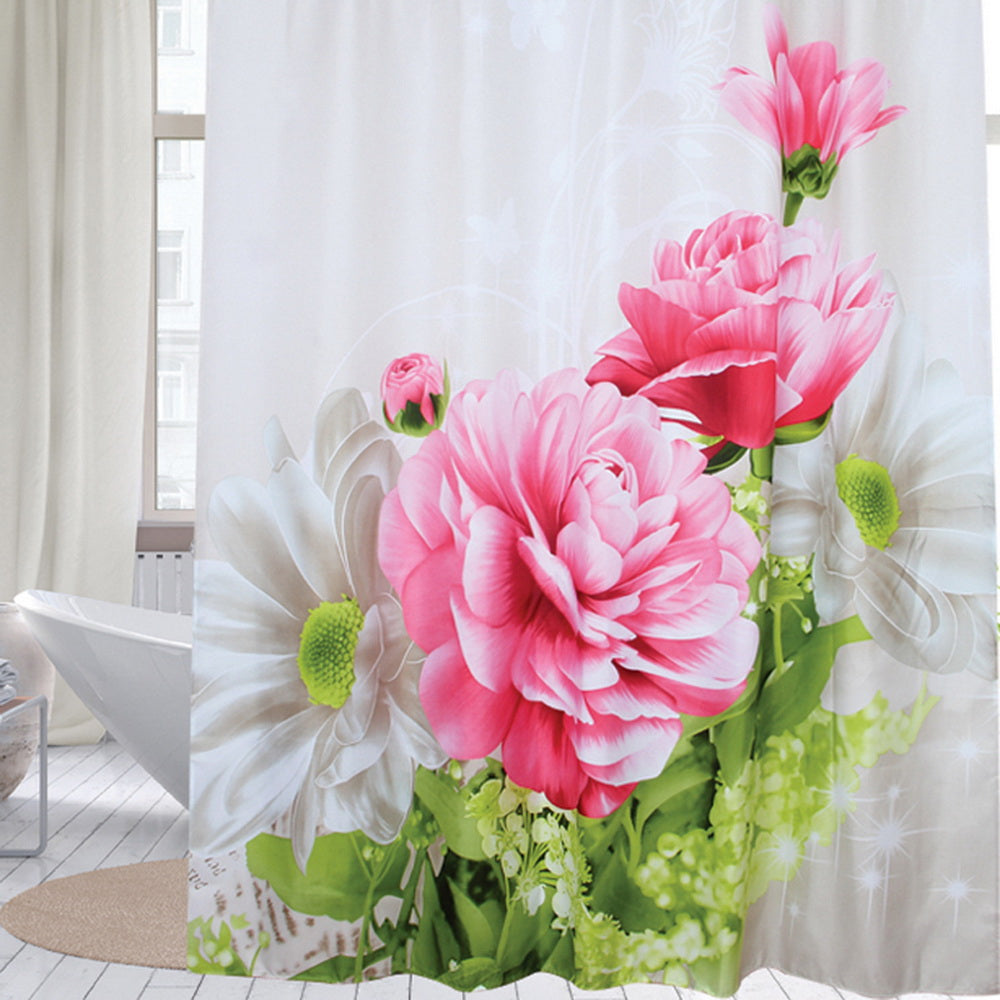 Fabric polyester red peony waterproof shower curtain