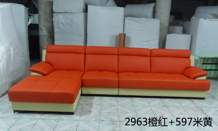 Free Shipping European style living room furniture Top Grain Leather L Shaped Corner Sectional Sofa Set orange leather sofa