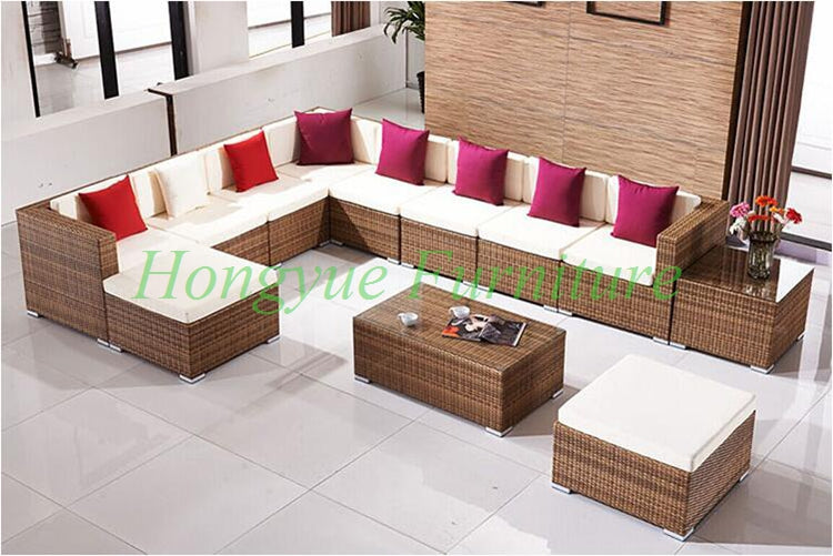L shape garden rattan wicker sofa set furniture with cushion pillows sale