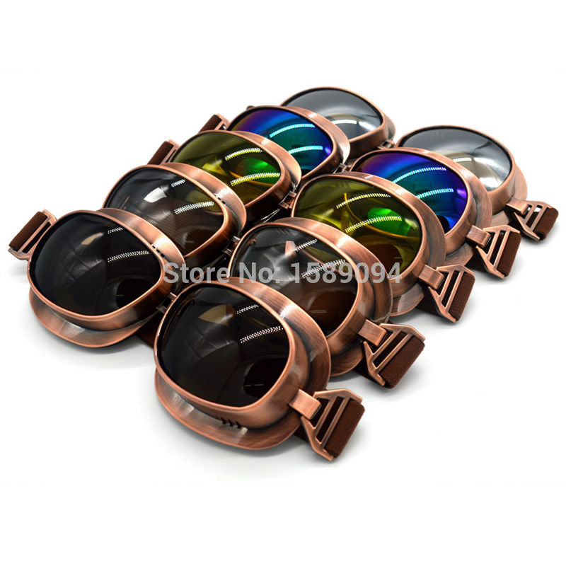 Vintage Scooter Motorcycle Goggle Glasses  Cycling Goggles Pilot Motorbike Goggles Retro Jet Helmet Eyewear Silver/Copper - Trivoshop