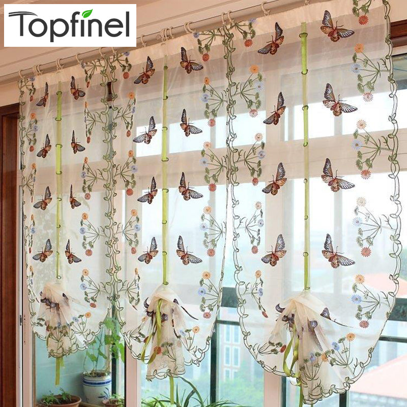Butterfly Kitchen Curtains Tulle