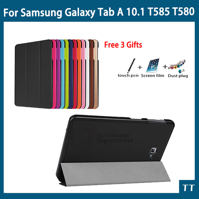 High quality Smart Flip CaseFor Samsung Galaxy Tab A 10.1 2016 T585 T580 SM-T580 T580N case cover +Gift +Screen Protector