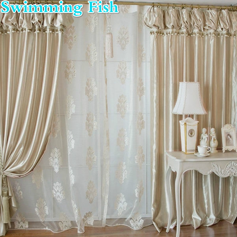 Korean lanterns curtain with valance beads champagne customized window screening jacquard tulle for bedroom living room