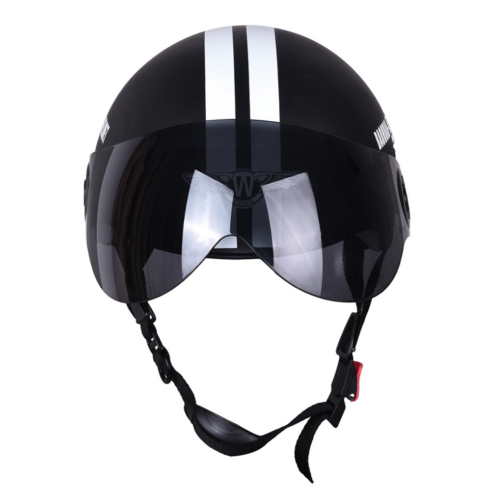 New Motorcycle Half Face Protective Helmet Visort,Men/Women Adult Motorbike/Bike/Bicycle Helmets Side Stars,Half Open Face, - Trivoshop