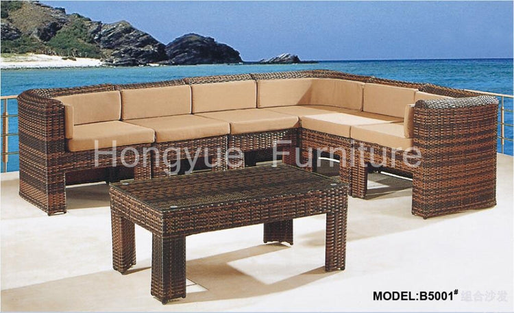 Brown rattan garden corner sofa