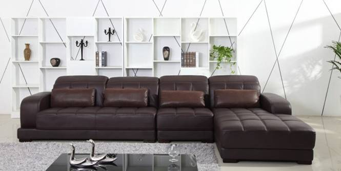 Free Shipping Classic Coffee Color Top Grain Leather Sofa, L shaped Sectional Sofa set 3.7M length House Furniture On Sale E308