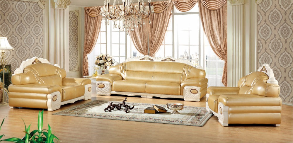 modern European leather sofa set living room sofa China sectional sofa wooden frame 1+2+4