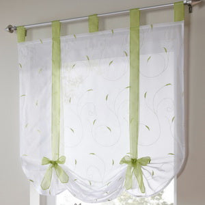 Roman shade European embroidery style tie up window curtain kitchen curtain voile sheer tab top window brand curtains cortinas - Trivoshop