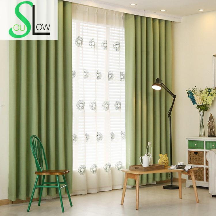 Simple Modern Pure  Cotton Velvet Thickened Shade Screens Spot BlackoutCurtains  Bedroom Living Room Rideaux Curtain Sheer Roman