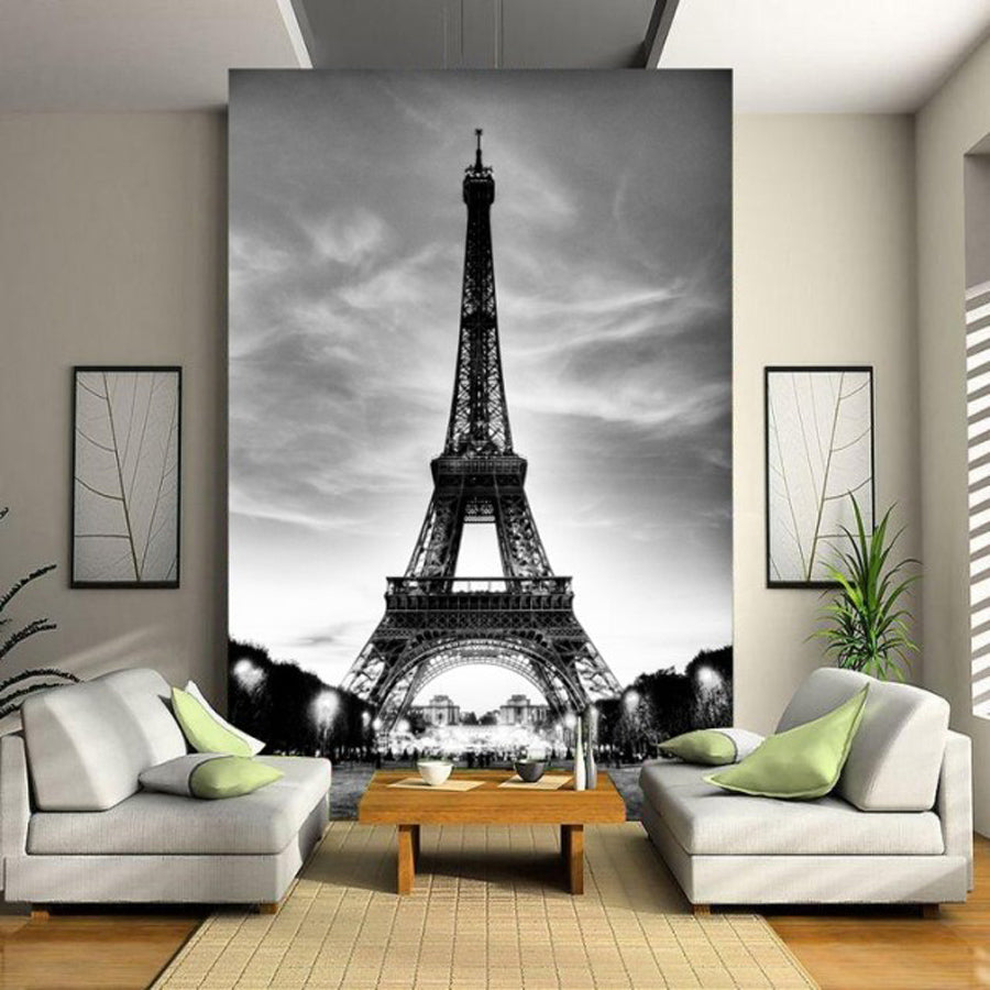 Glitter Wallpaper Black White City Building Paris Eiffel Tower Walls 3d Flooring Marble Vinyl Vintage Papel De Parede Pintado