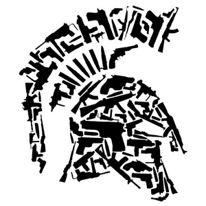 13.3CMX15.5CM Sparta Vinyl Motorcycle Helmet Gun Decorative Decal Car Stickers Black/Silver C1-3168 - Trivoshop.com