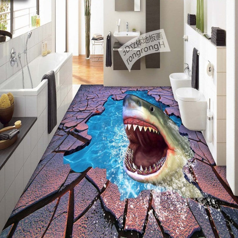 Free Shipping Sea World Shark Crack 3D floor painting thickened self-adhesive living room bathroom bedroom flooring mural
