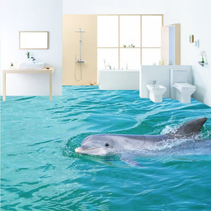 Free Shipping HD tour surface dolphin 3D floor thickened non-slip bedroom living room bathroom lobby square flooring mural