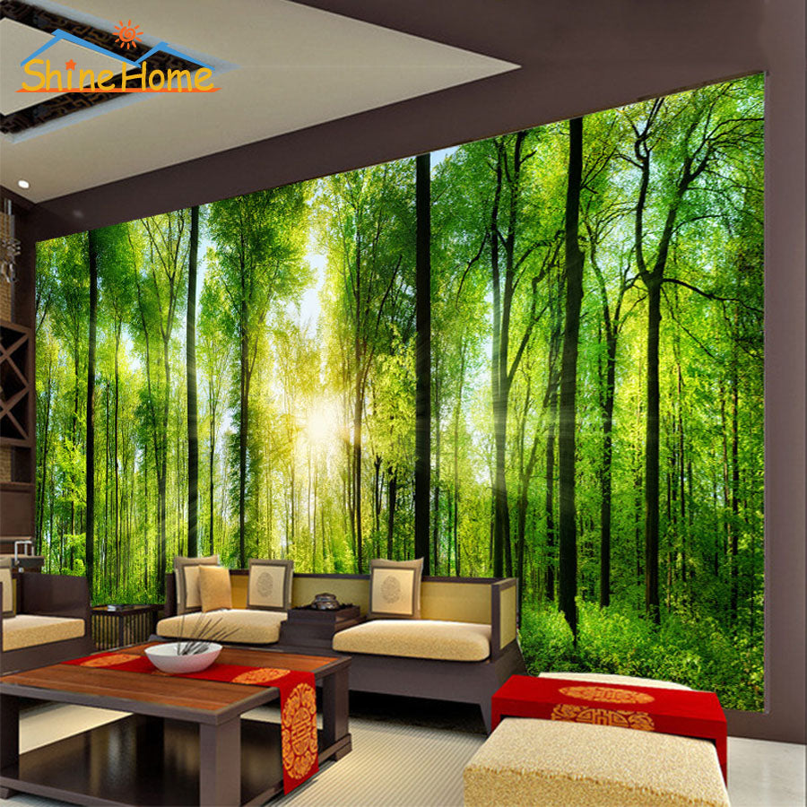 Sunshine in Forest Trees 3D Wallpaper for Wall