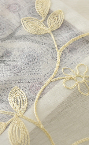 byetee Simple white embroidered  Curtains