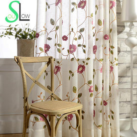 Rose Red,Light Blue flower Cotton Yarn Curtain Embroidered Curtains For Living Room Cortinas Tulle Cortina  Kitchen Chinese - Trivoshop