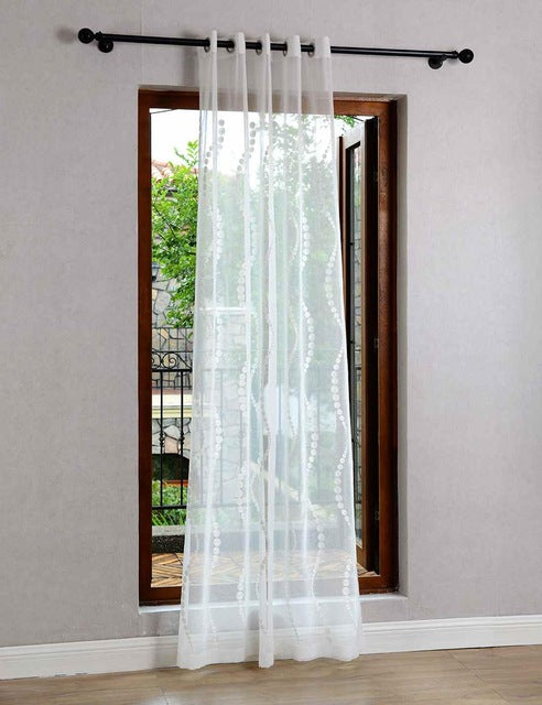 Embroidered White Tulle Curtains