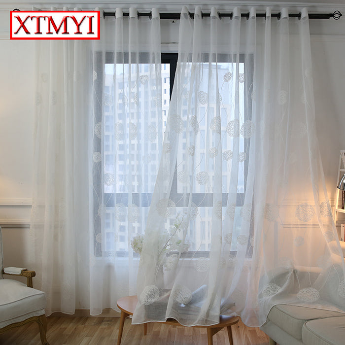 Korean White Embroidered Voile Curtains for bedroom  window curtain living room sheer curtains white  blinds Custom Made