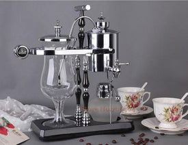 T Design gold/silver & black water drop Royal balancing siphon coffee machine/belgium coffee maker syphon vacumm coffee brewer