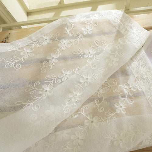 White Fancy Embroidered Voile Curtain