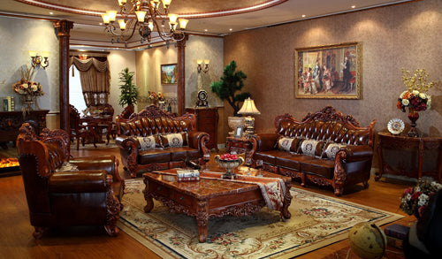 luxury italian red oak solid wood leather sofas living room furniture sets from China-PRF3027 - Trivoshop