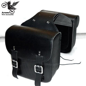 1 pair Motorcycle Saddle Bags Pu Leather Black Brown Motorbike Side Bag Tool Luggage For Harley Davidson SaddleBag Sportster - Trivoshop.com