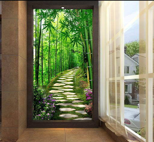 brick road in forest porch 3D Flooring Wallpaper