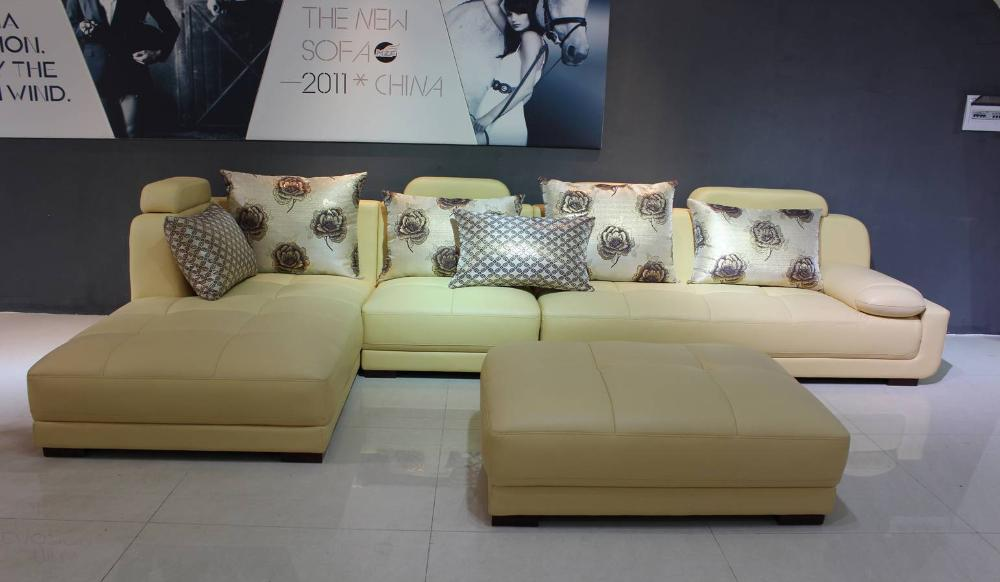 Free Shipping Modern Design,Beige Top Grain Catle leather Sofa Set with  Samrt Home Furniture, fashion and confortable E313
