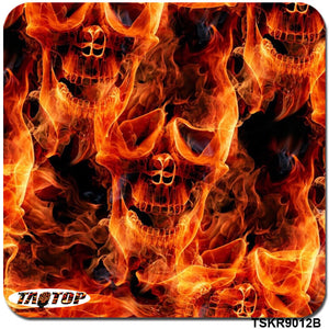 TSKR9012B 0.5M * 2M Popular Skull Orange Pattern Hydro Dipping Film Water Transfer Printing Hydrographics Film