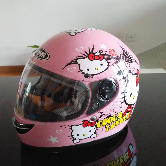 Pink cat children motocross ful face motorcycle helmet ,MOTO electric bicycle safety headpiece for  child kids - Trivoshop
