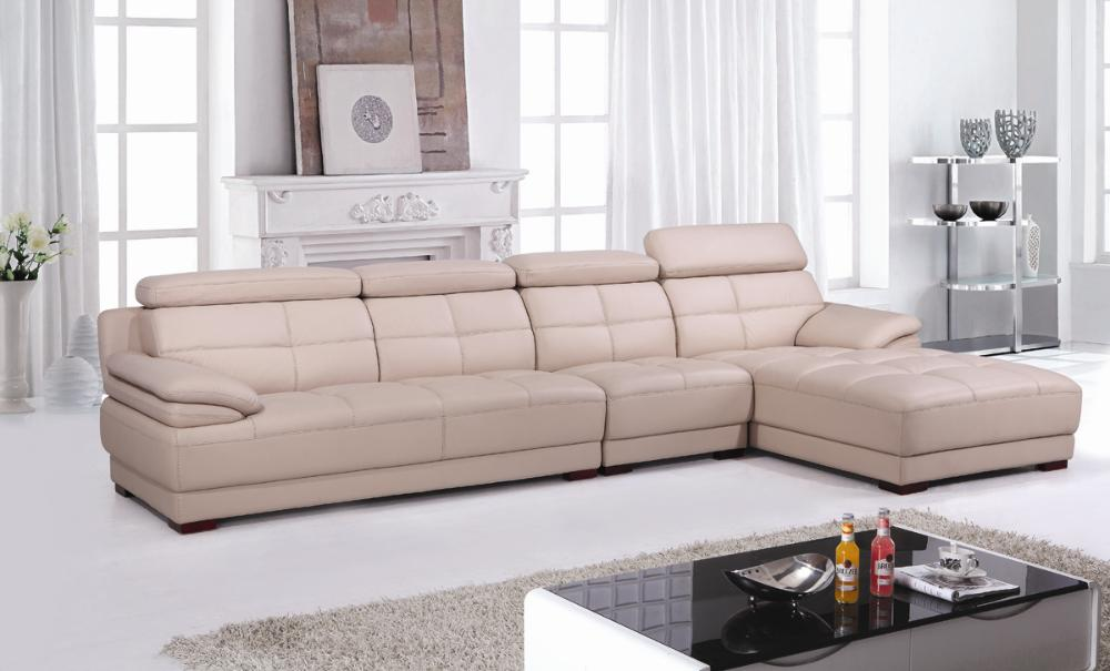 Free Shipping Beige Leather Top Grain Cattle leather, Lshaped sectional house furniture sofa set, welcome OEM/ODM  E306