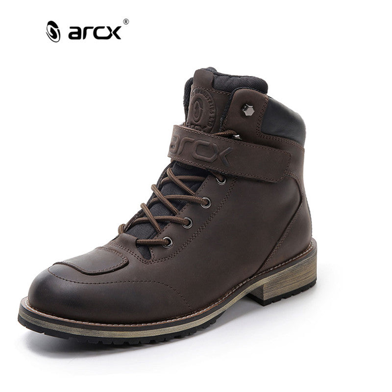 ARCX  Men's Leather Motorcycle Boots Waterproof motorcycle Outdoor Travel Boots Moto Vintage Ankle Boots