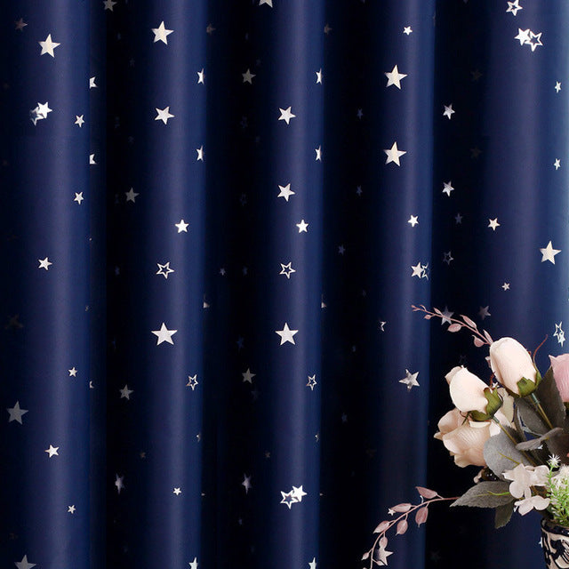 Shiny Stars Children Cloth Curtains For Kids Boy Girl Bedroom Living Room Blue/Pink Blackout Cortinas Custom Made Drapes wp123&2