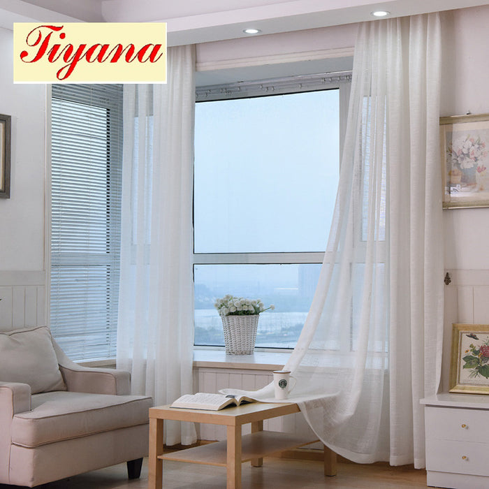 Thick Cotton Linen Tulle Curtains Decorative Hotel Modern Fashionable European Sheer White Blue Pink Yellow Coffee WP342 *30