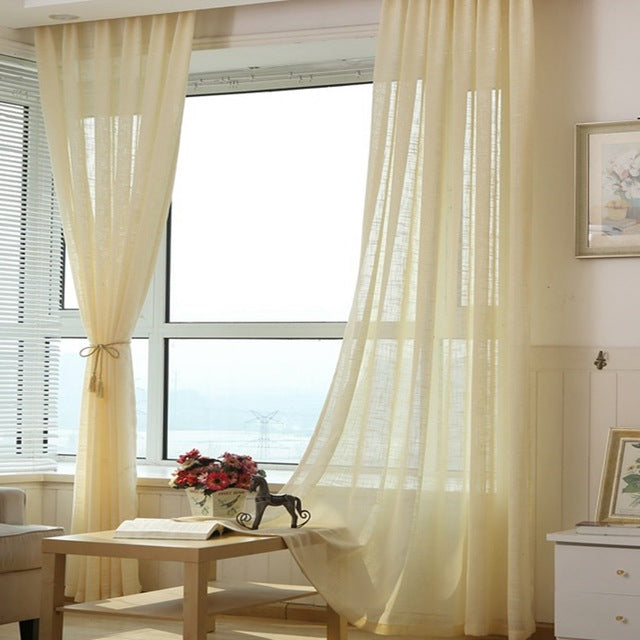 Thick Cotton Linen Tulle Curtains Decorative Hotel Modern Fashionable European Sheer White Blue Pink Yellow Coffee WP342 *30 - Trivoshop