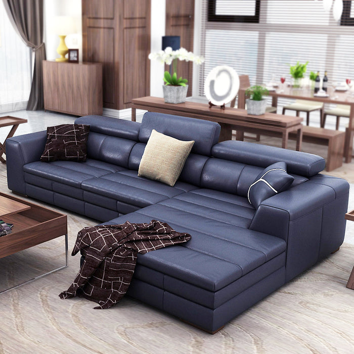 top genuine/real leather sofa sectional living room sofa corner home furniture couch L shape functional backrest modern style - Trivoshop