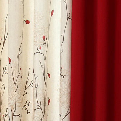 {byetee} Cotton Linen Curtain Modern Rustic Red High Quality Stitching Living Room Curtains Fabrics Kitchen Door Curtains Drapes