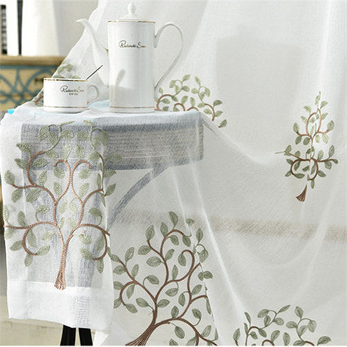 {Byetee} Chinese Style Embroidery Window Quality Curtain White Gauze / Yarn/ Tulle Bedroom Balcony Living Room the Curtains