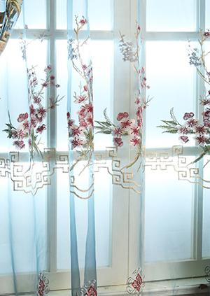 [Slow Soul] New Elegant Chinese Style Living Room Study Embroidery Curtain Tulle Curtains Floral Embroidered Luxury Modern