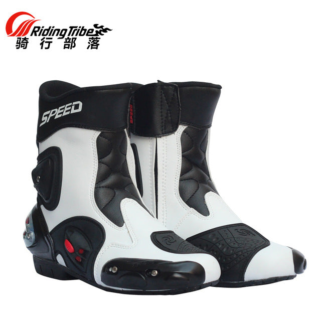 New Speed Botas Hombre Motorcycle Racing Boots Bikers Motorbike Motocross Microfiber Leather Boots Shoes A004 - Trivoshop