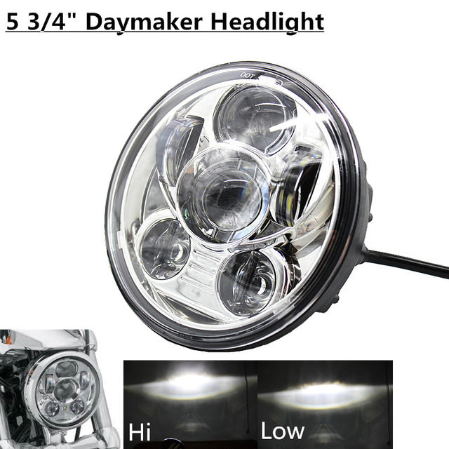 Hot !!!! 5-3/4 5.75 Inch Daymaker Projector LED Headlight for Harley Motorcycles Headlamp 45W Chrome Round Black Led Headlights - Trivoshop