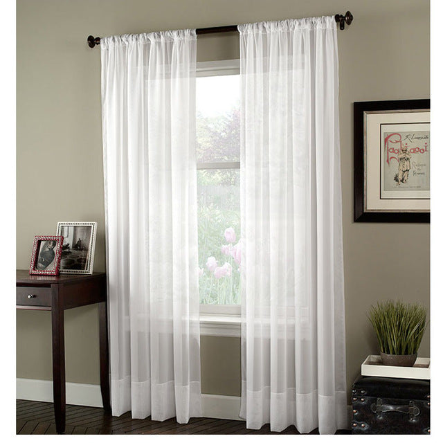 Japan window soild tulle curtains for living room white kitchen curtains Sheer Voile Blinds Drapes