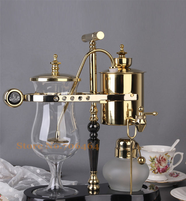 Single T gold/silver & black water drop Royal balancing siphon coffee machine/belgium coffee maker syphon vacumm coffee brewer