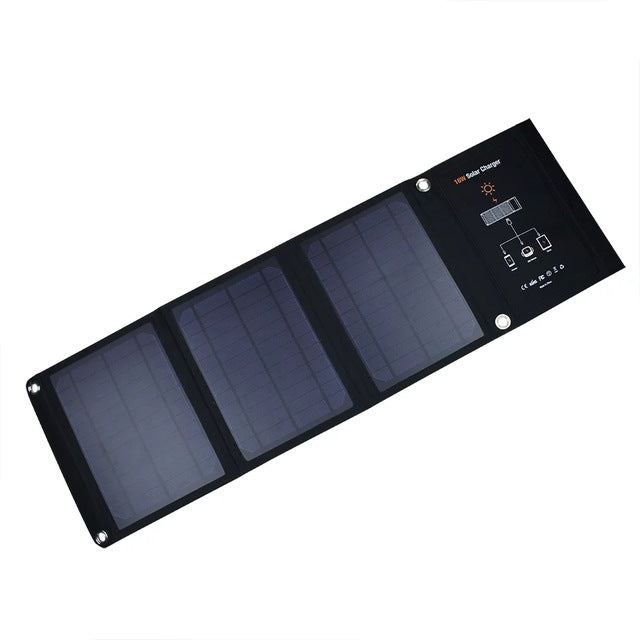 Xionel 16W Foldable Solar Powered Charger With Monocrystalline silicon Solar Panels Dual USB Ports for iPhone Samsung Cellphones