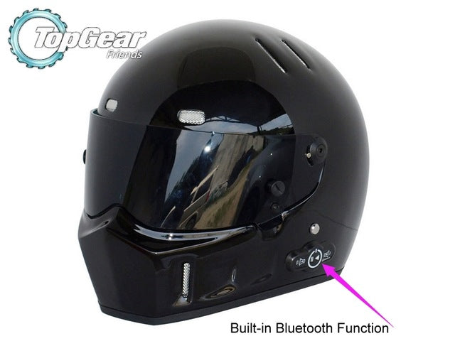 High Quality ( Bluetooth ) First Generation TopGear Stig 1 Helmet Black Colour With Black Visor Top Gear Car / Motorcycle Helmet - Trivoshop