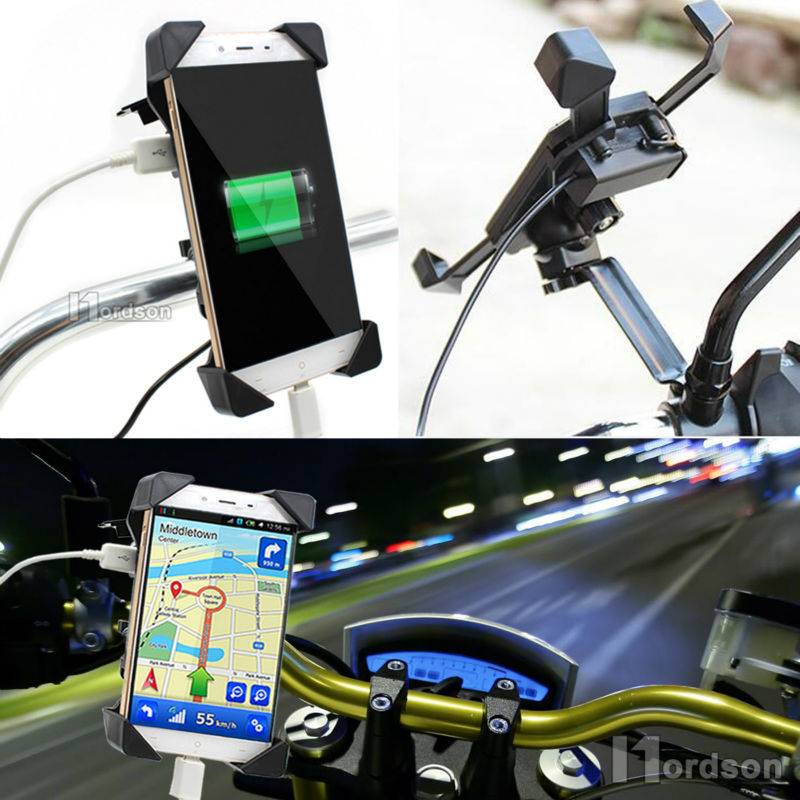 Universal Motorcycle Charger Cell Phone Mount Holder Clamp with USB Charger For Electric Bicycle Scooter ATV GPS Holder - Trivoshop