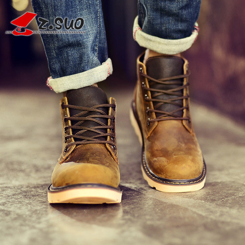 ZSuo Motorcycle Boots Locomotive Moto Racing shoes Genuine Cow Leather Motorbike Biker boot Chopper Touring Ankle motobotinki - Trivoshop